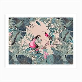 Pink Tropical Toucans Art Print