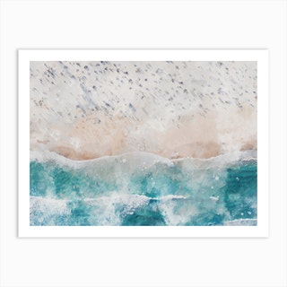 Aerial Beach View Watercolour I Art Print