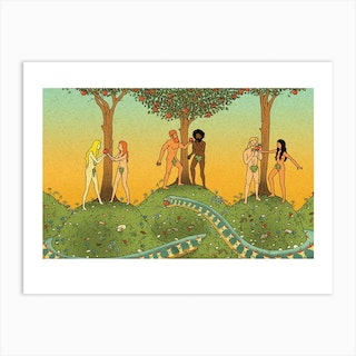 Eve And Eve, Adam And Adam, Adam And Eve By Izhar Cohen Art Print