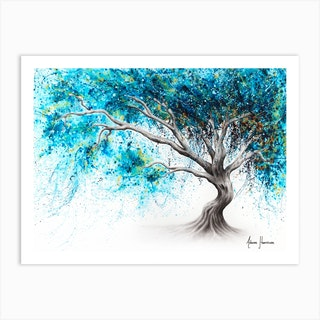 Blue Crystal Dream Tree Art Print