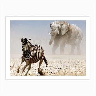 Elephant And Zebra Art Print