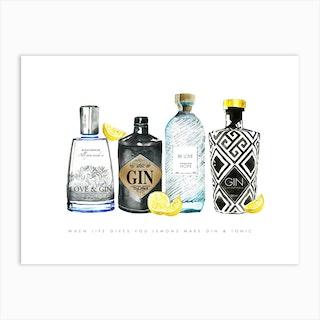 Gin Lemons Art Print