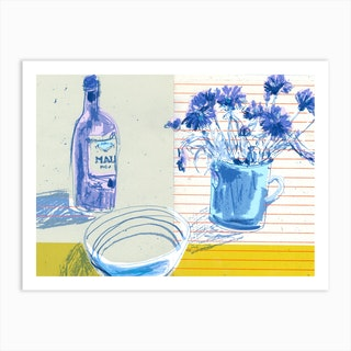 Wine And Flowers Art Print