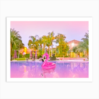 Lost Flamingo In The Swimming Pool  Art Print