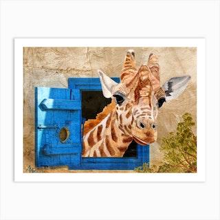 Suddenly A Giraffe Art Print