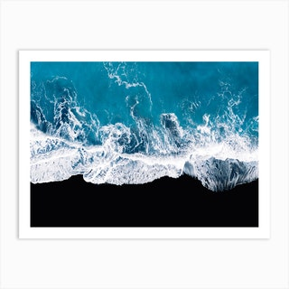 Black Sand Beach In Iceland With Waves  Art Print