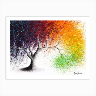 Rainbow Seasons Tree Art Print
