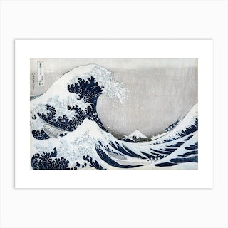 The Great Wave Off Kanagawa Grey Art Print