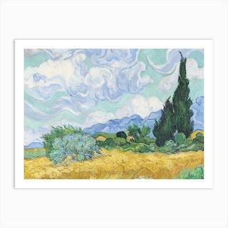 A Wheatfield With Cypresses, Vincent van Gogh Art Print