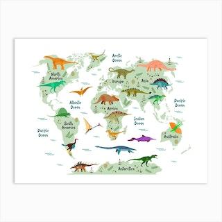 Colourful Dinosaur World Map Art Print