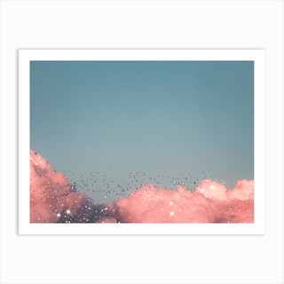 Pink Clouds Glitter Art Print