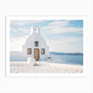 White Church Santorini Art Print