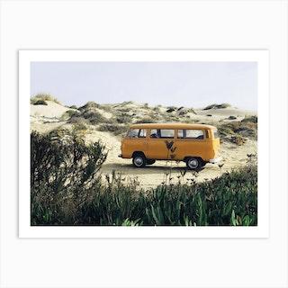 Yellow Vw Van Art Print