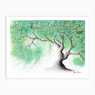 Jade Blossom Tree Art Print