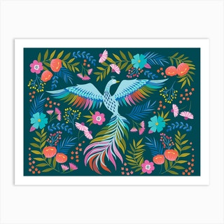 Floral Phoenix Dark Art Print