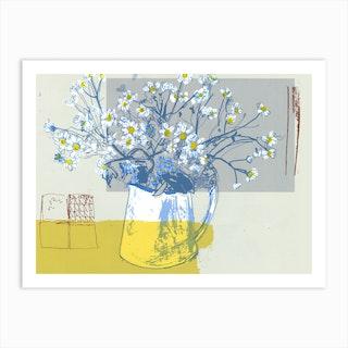 Daisies In White Jug  Art Print