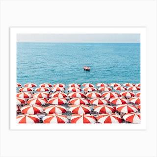 Red Umbrellas In Italy Art Print