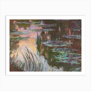 Water Lilies Setting Sun, Claude Monet Art Print