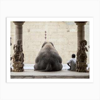 The Elephant And Its Mahot Art Print