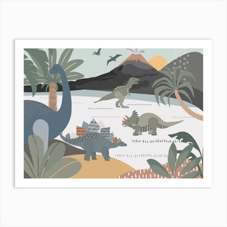 Dinosaur And Friends Art Print