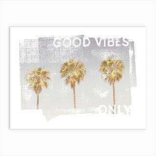 Vintage Palmen Good Vibes Only Art Print