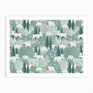 Yellowstone (Moss) Art Print