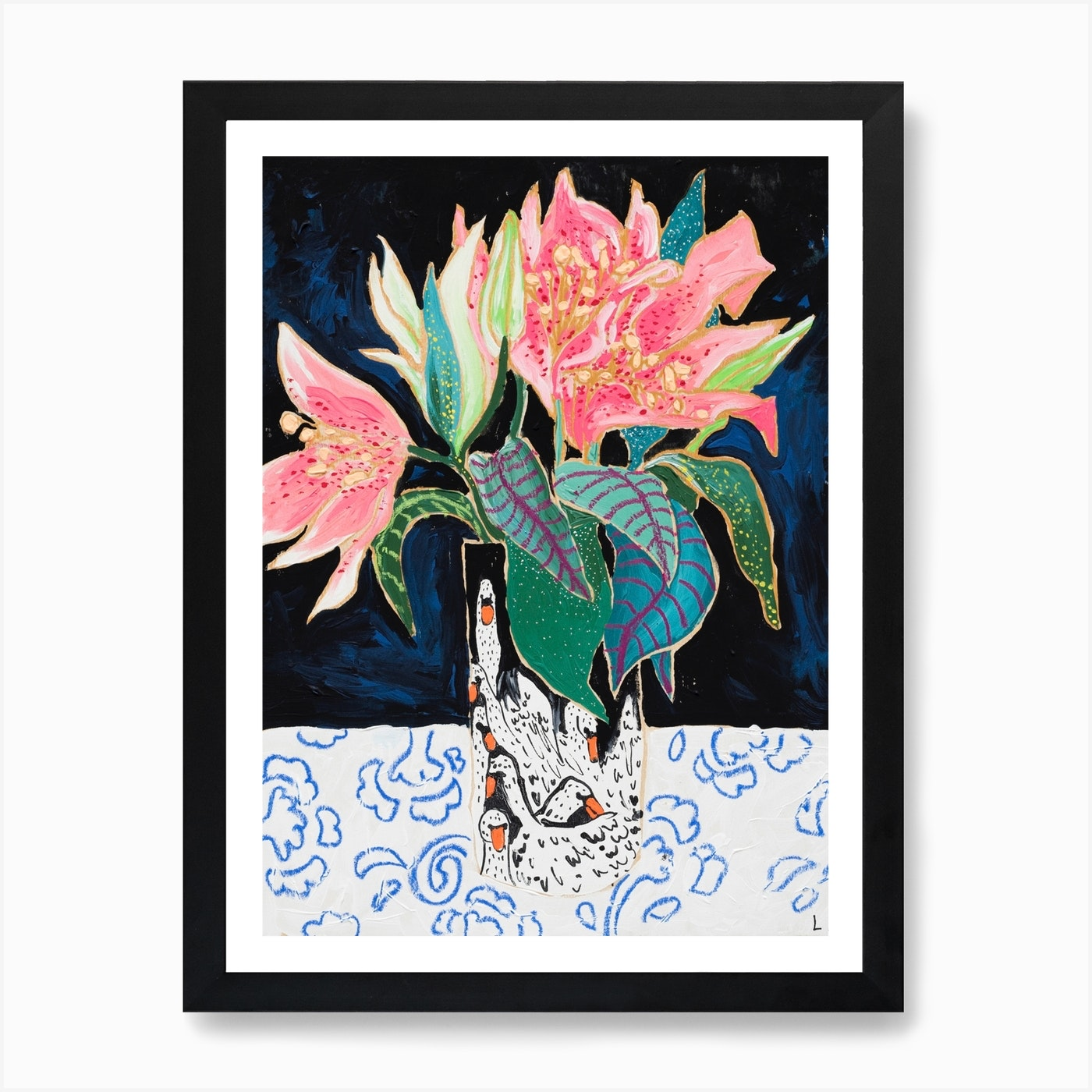 Pink Lily Bouquet In Swan Vase Dark Floral Painting Art Print By