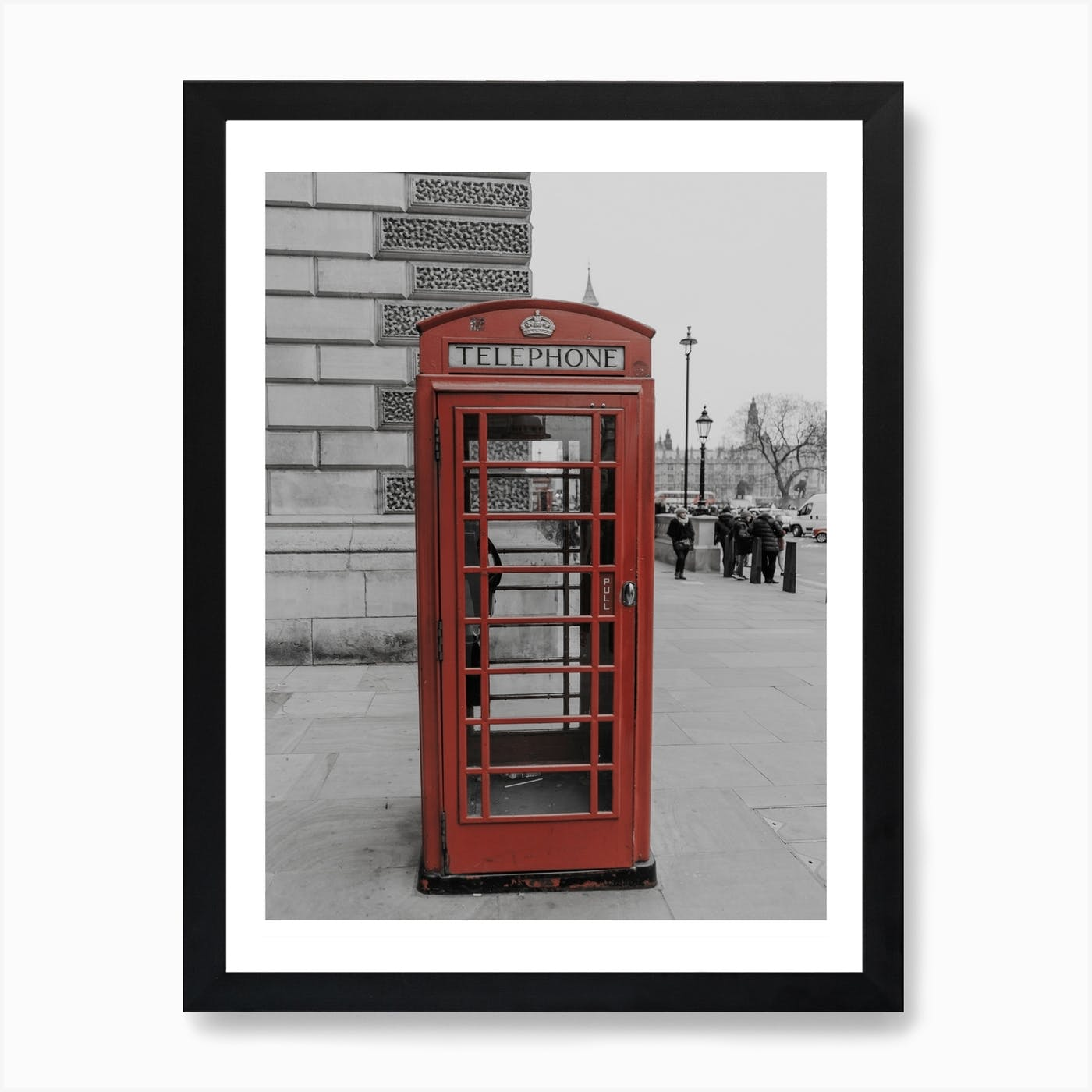 RED UMBRELLA PHONE-BOX LONDON STREET PICTURE PRINT ON FRAMED CANVAS  WALL ART