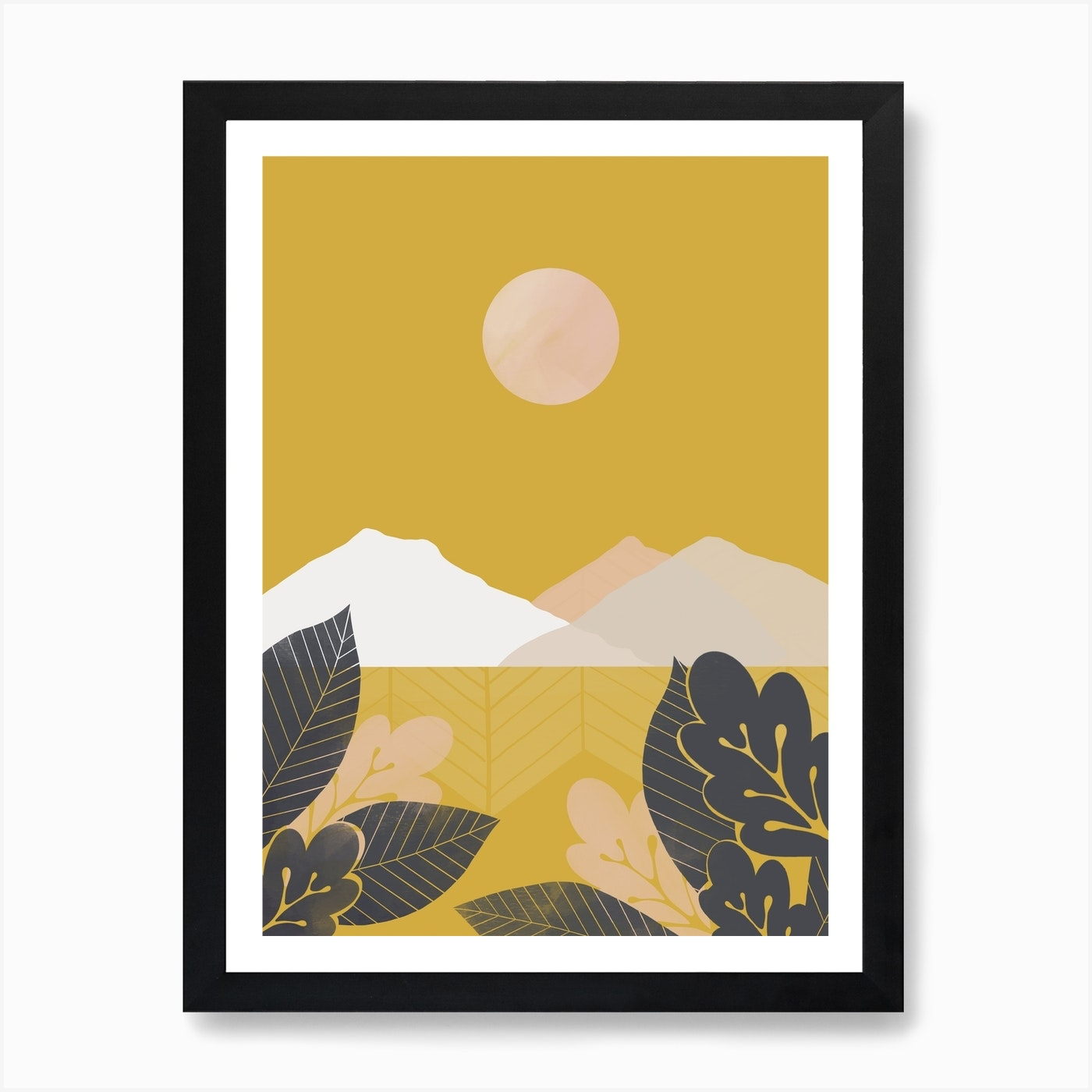 Mustard Mountains Through Leaves Abstract Landscape Art Print By Tulip House Studio Fy