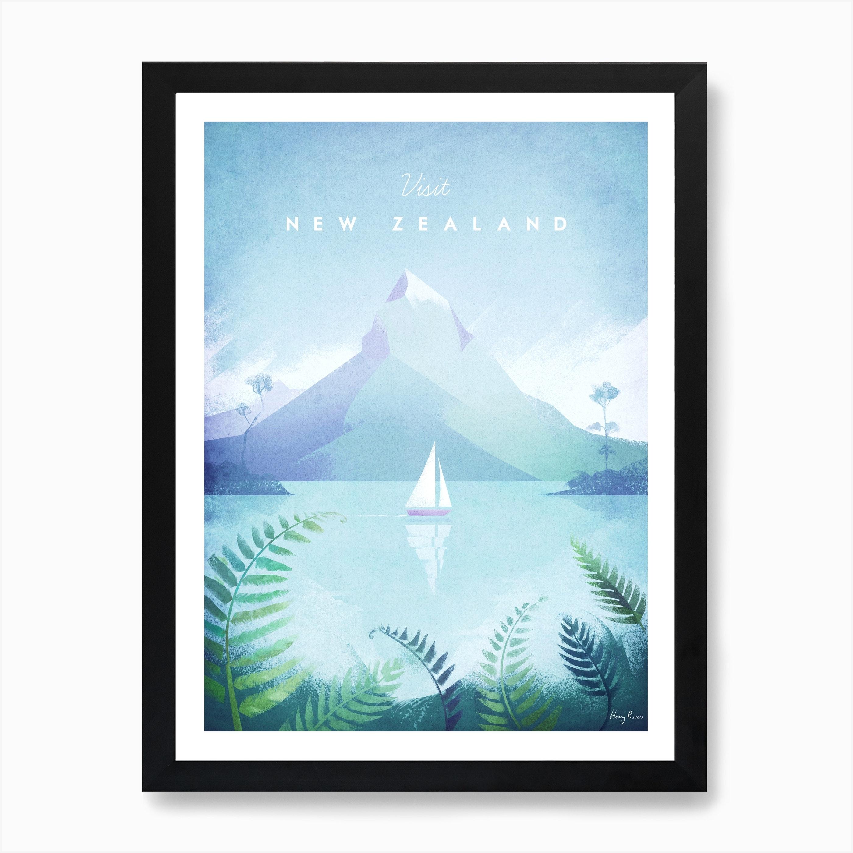 Visit New Zealand Art Print Free Shipping Fy