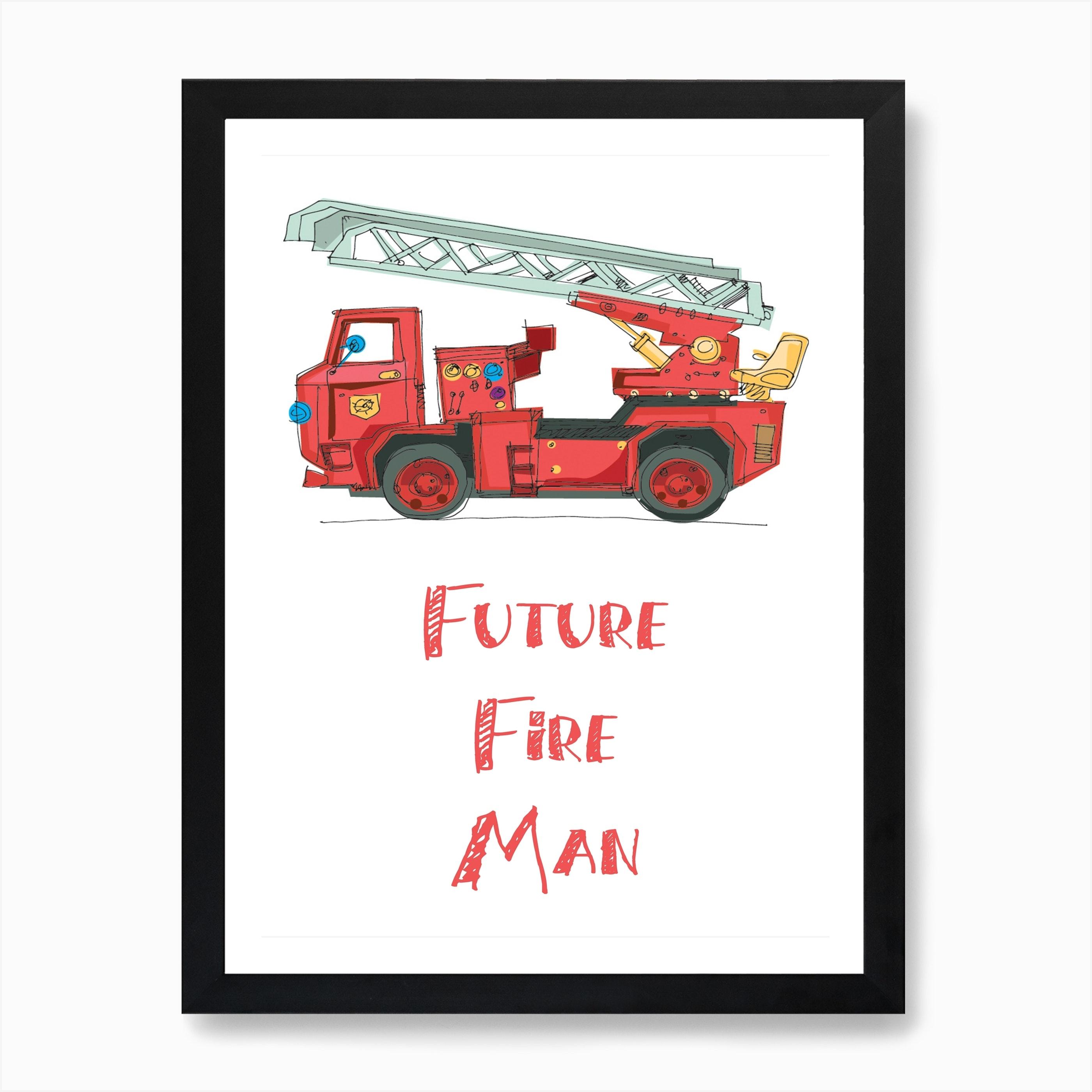 Fire Truck Art Print By Pug Pup Prints Fy