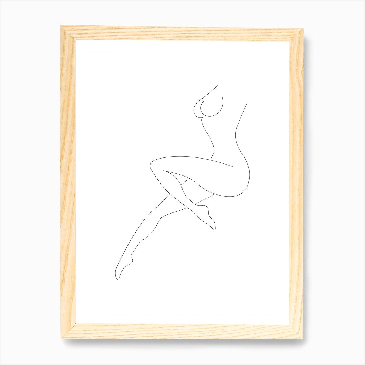 Woman Body Line Art Print By Hecetu Fy