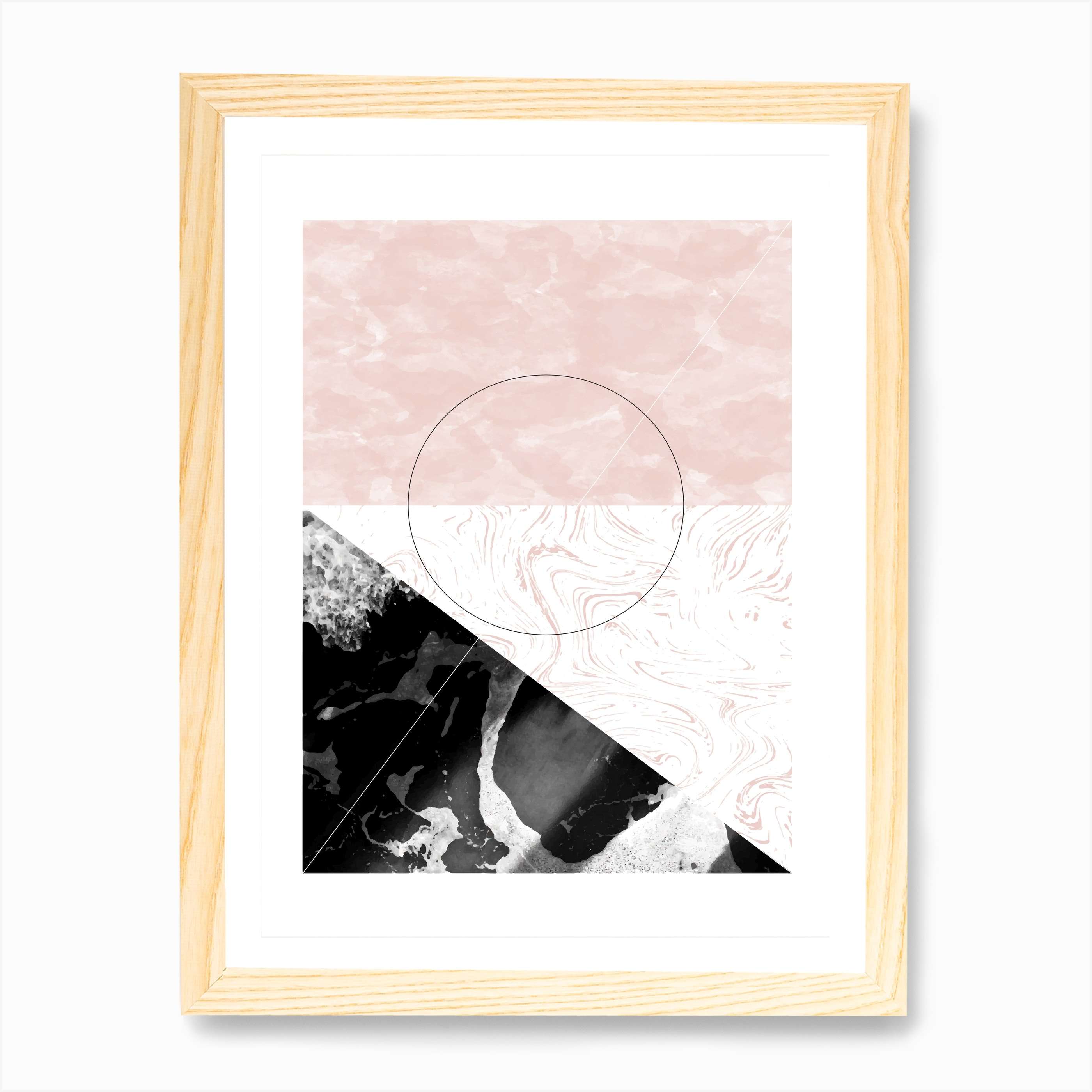 Rectangle Pink Black Marble Abstract Art Print By Pixy Paper Fy