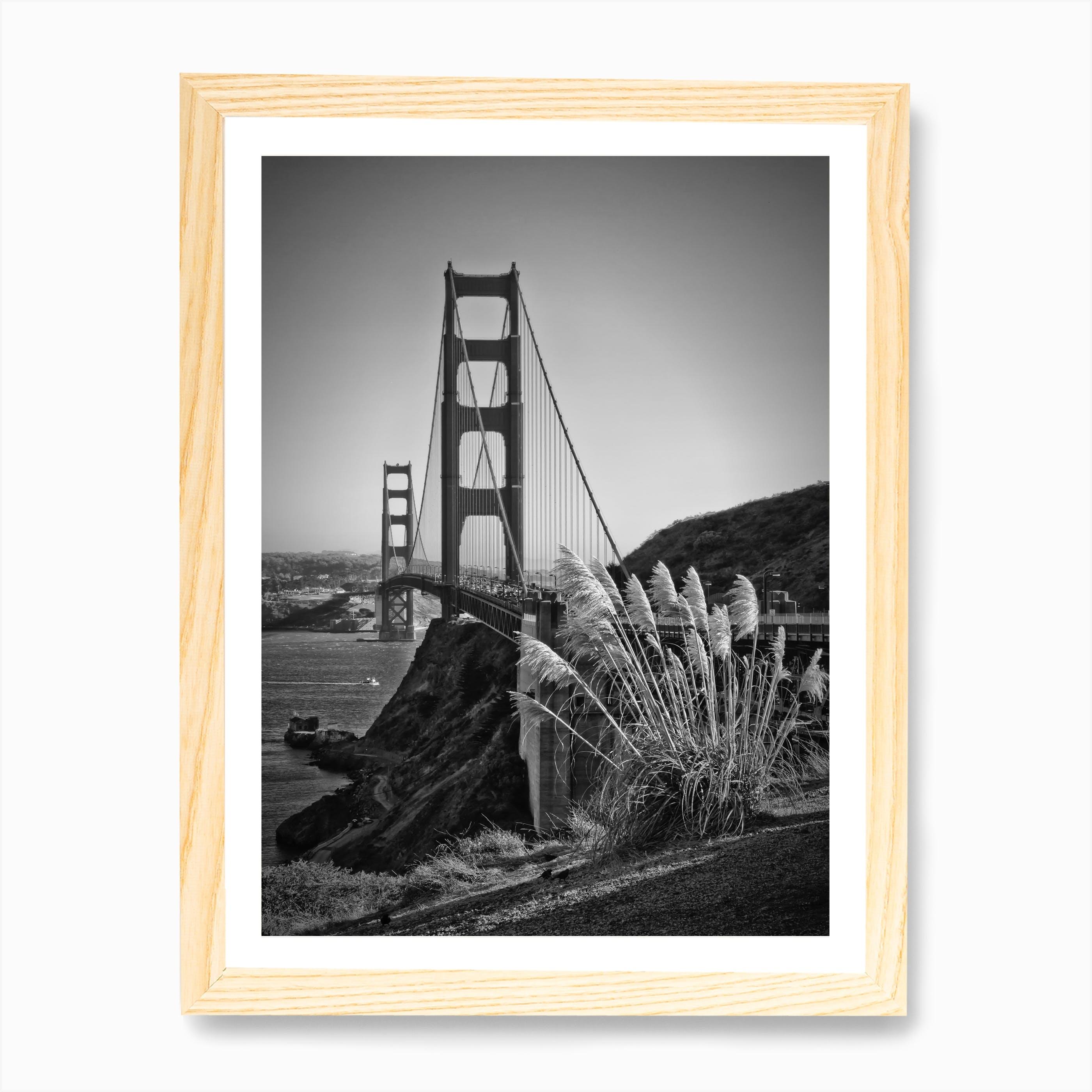 framed poster various sizes GOLDEN GATE BRIDGE ink painting art print san francisco
