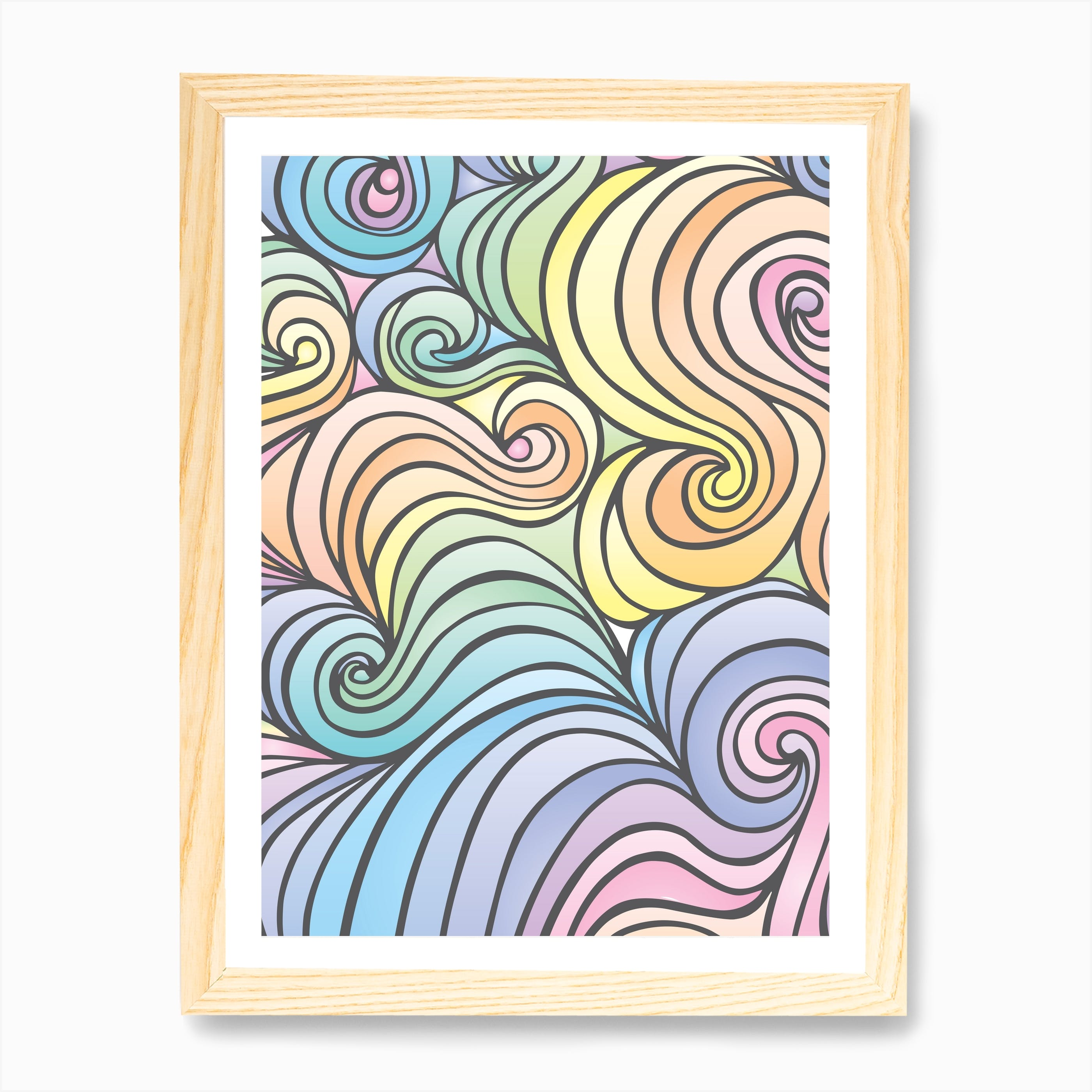 Swirly Love Quote Print Poster Rose Gold Wall Art