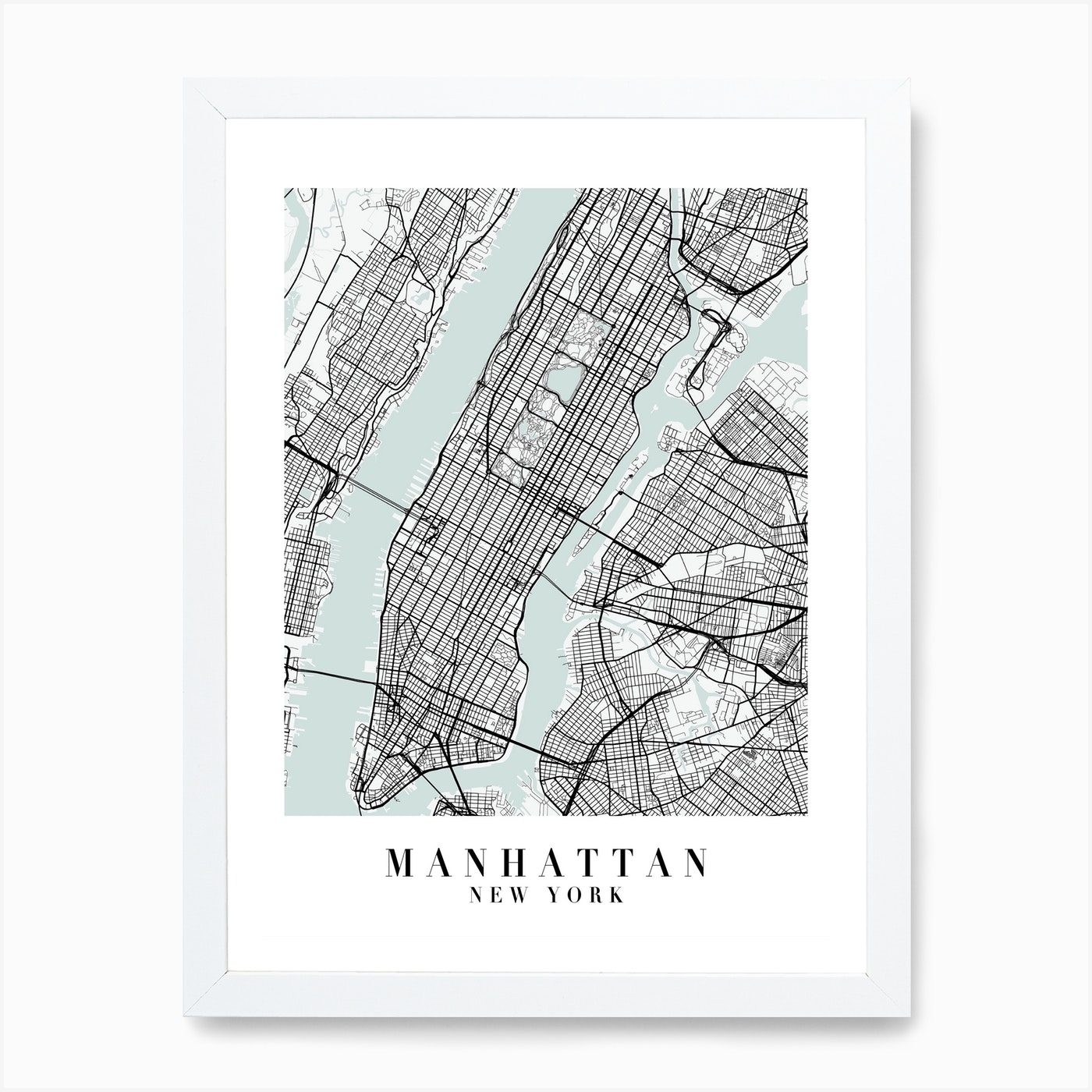Manhattan New York Street Map Minimal Color Art Print By Typologie Paper Co Fy