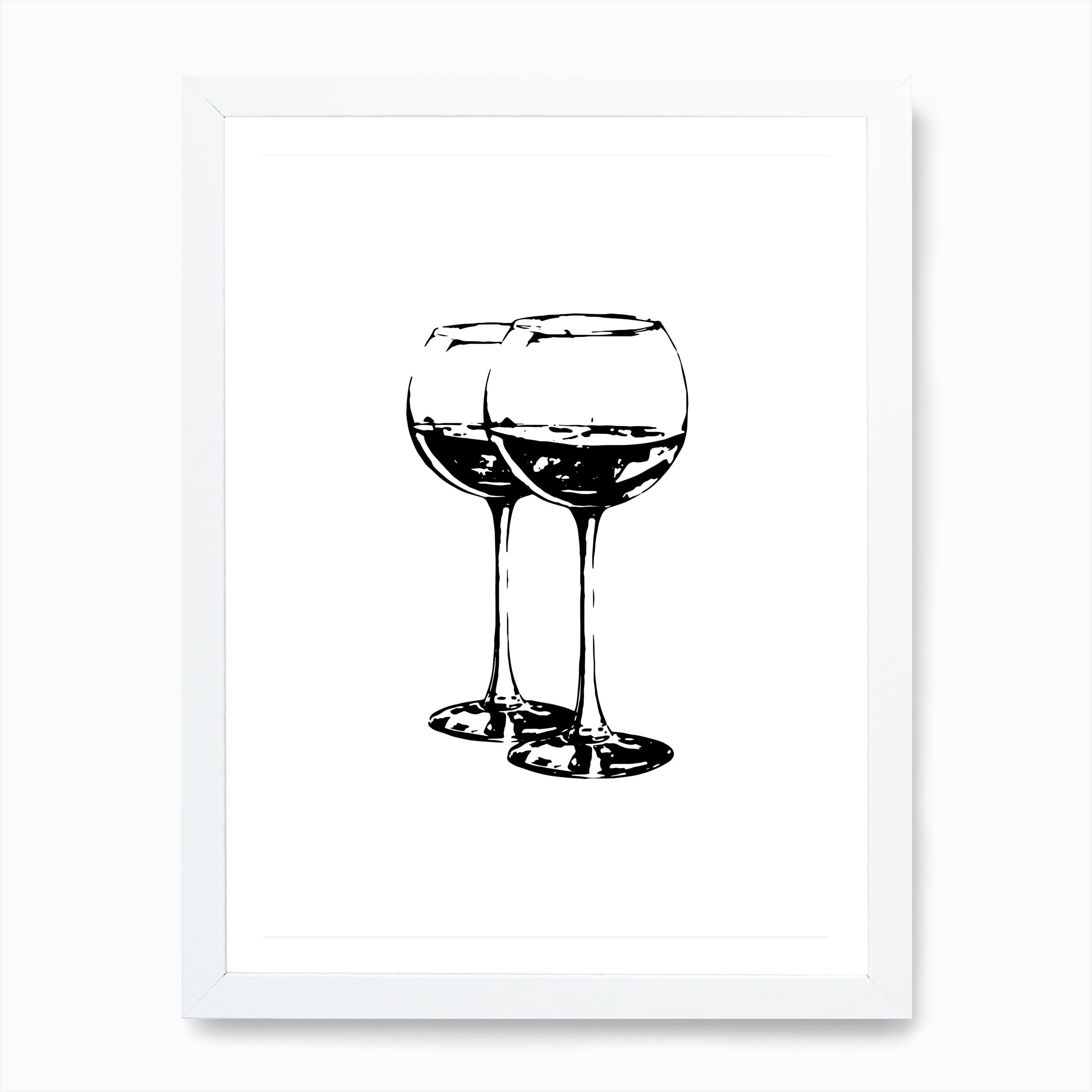 Grey /& White Illustration Wine Glasses Kitchen Poster Print Home Decor Wall Art