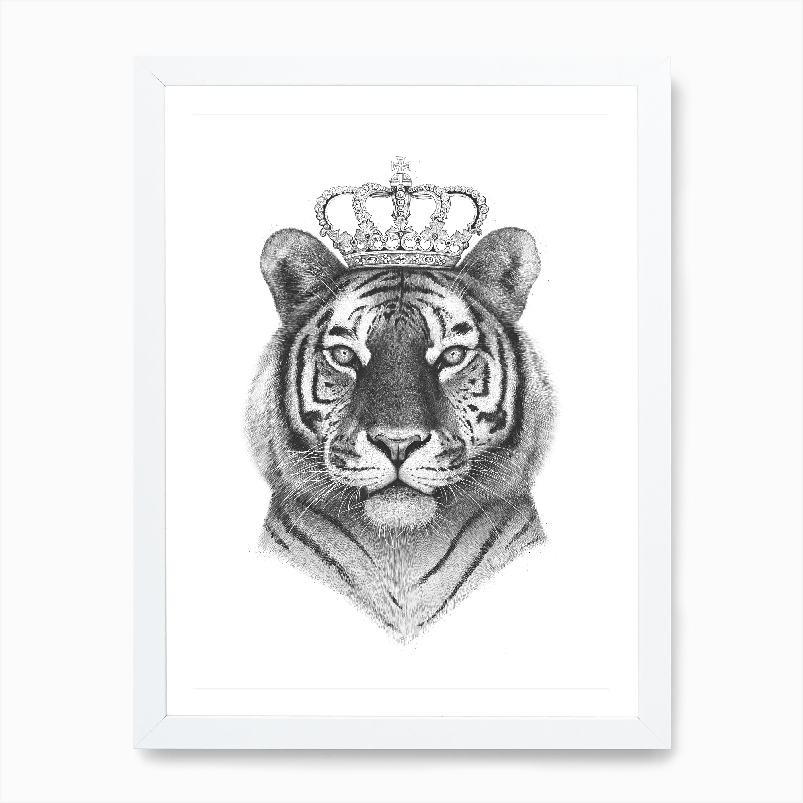 Tiger Black And White Photo Picture Print On Framed Canvas Wall Art Home Decor