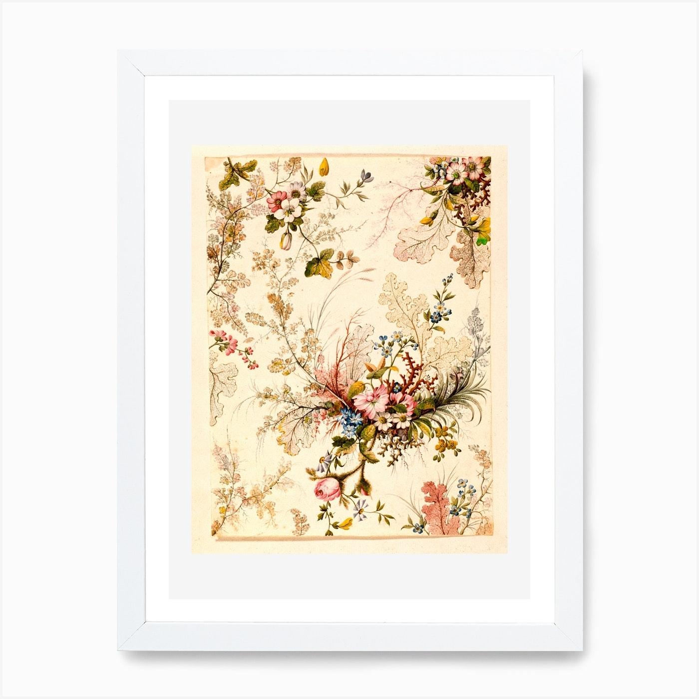 Vintage Floral Pattern Art Print By Vintage Print And Poster