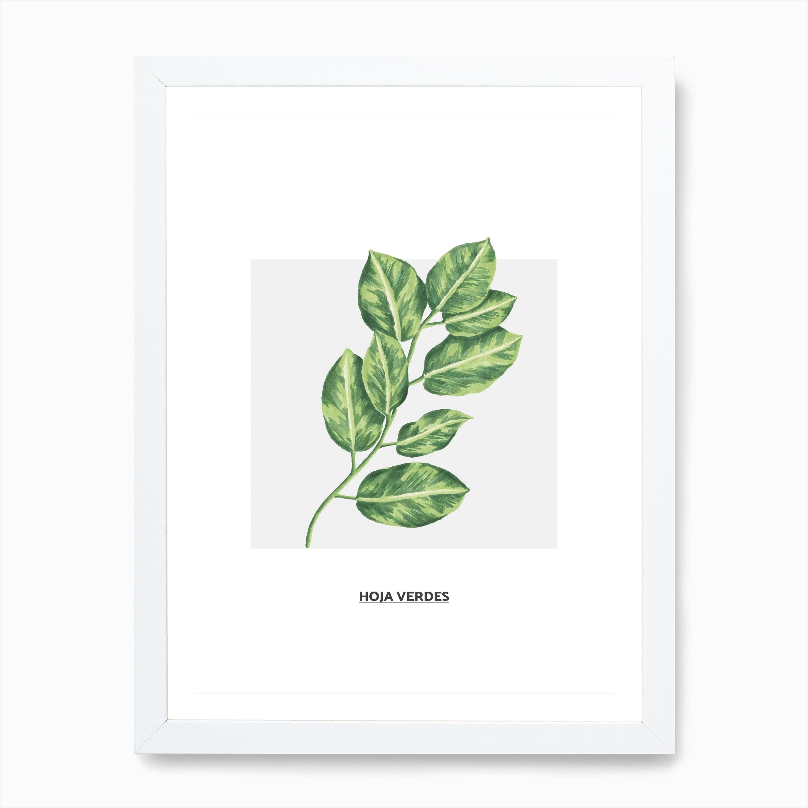 Green Leafs Grey Box Art Print By Pixy Paper Fy