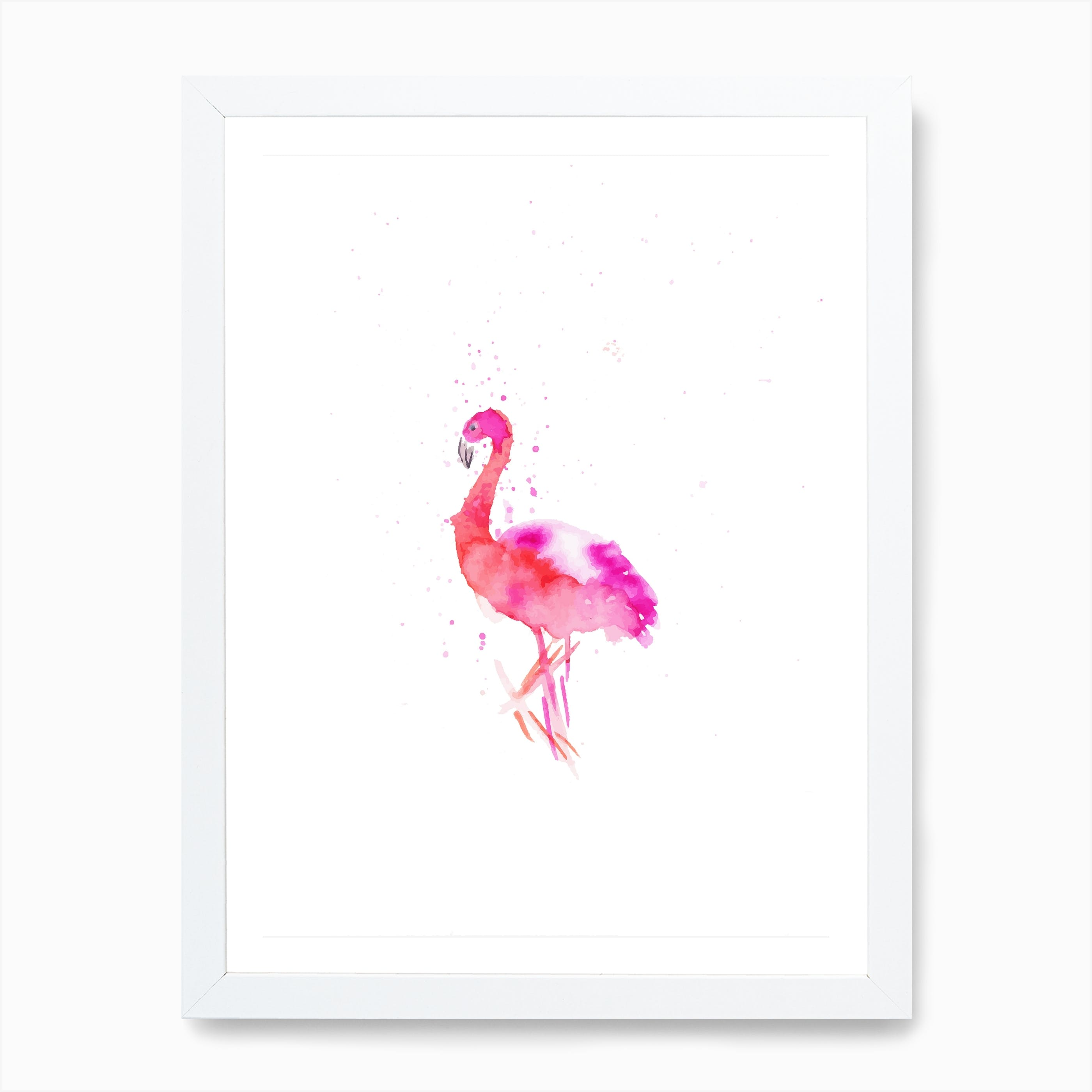 Flamingos Dancing Watercolour Large Wall Art Print 18X24 In