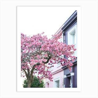 Pink Purple Blossom London Art Print