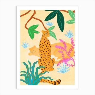 Panthers In Magical Garden Art Print
