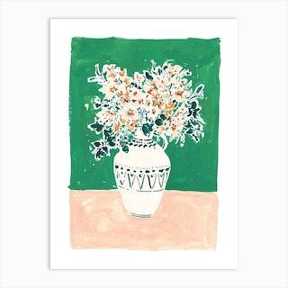 Emerald, Ecru And Maple Art Print