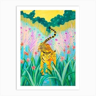 Tigers In Garden Art Print