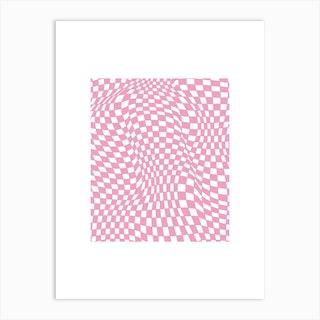 Checkerboard Pastel Pink Art Print