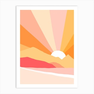 Sunny Coastal Rainbow Art Print