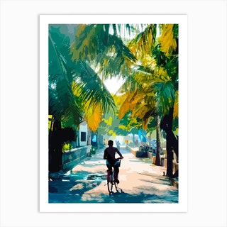 Bike In Paradise Art Print