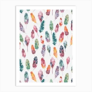 Watercolor Boho Feathers Art Print