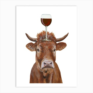 Cow With Wineglass Art Print